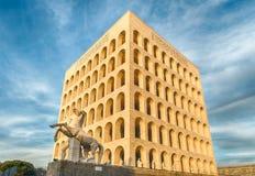 Il della Civiltà Italiana, aka Colosseum quadrato, Roma di Palazzo, Fotografia Stock