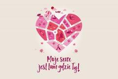Il ` della mappa di amore il mio cuore è dove siete! ` Sotto forma di un cuore per celebrare la cartolina d'auguri di giorno del  Fotografia Stock Libera da Diritti