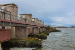 Il delta funziona la chiusa a Afsluitdijk, la protezione di inondazione della tempesta Fotografie Stock Libere da Diritti