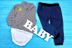 Il denim del neonato copre il fondo Fotografia Stock