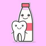 Il dente ed il latte sono amici Immagine Stock