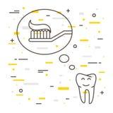 Il dente pensa allo spazzolino da denti con l'illustrazione lineare di vettore del dentifricio in pasta Fotografie Stock Libere da Diritti