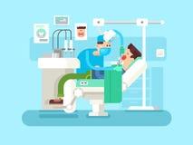 Il dentista cura un paziente illustrazione vettoriale