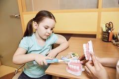 Il dentista della donna insegna alla bambina a pulire i suoi denti fotografia stock libera da diritti