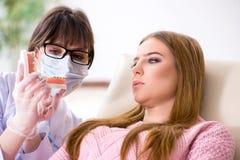 Il dentista di visita paziente della donna per il controllo generale regolare Immagini Stock Libere da Diritti