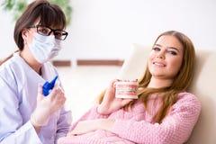 Il dentista di visita paziente della giovane donna Fotografia Stock Libera da Diritti