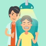 Il dentista ed il paziente ritiene soddisfatti illustrazione di stock