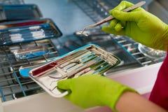 Il dentista passa la tenuta degli strumenti dentari Immagine Stock Libera da Diritti