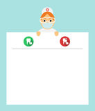 Il dentista tiene lo strato del blocco note Il consiglio di un medico Con la prescrizione di un medico Progettazione piana modern Immagini Stock Libere da Diritti