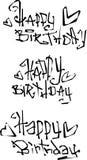 Il desiderio di buon compleanno ha tagliato le fonti ricce liquide dei graffiti Immagini Stock Libere da Diritti