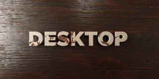 Il desktop - titolo di legno grungy sull'acero - 3D ha reso l'immagine di riserva libera della sovranità Fotografie Stock