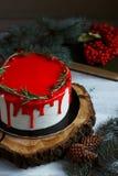 Il dessert casalingo tradizionale di festa del dolce di natale con il mirtillo rosso e il rozmarine nel telaio delle decorazioni  Immagine Stock Libera da Diritti