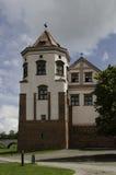 Il dettaglio del castello storico nella parete della Bielorussia e nella torre Immagini Stock
