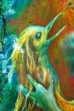 Il dettaglio della testa dorata dell'uccello di Phoenix, l'immaginazione di fantasia ha dettagliato la pittura variopinta Immagine Stock Libera da Diritti