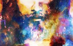 Il dettaglio di Gesù affronta nello spazio cosmico versione del collage del computer illustrazione vettoriale