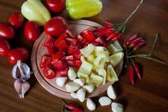 Il ¡ di Ð ha saltato pomodori e pepe Immagini Stock Libere da Diritti