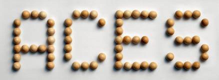 Il ` di legno di arte di parola della puntina Aces il ` Fotografia Stock Libera da Diritti