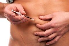 Il diabete fa il colpo dell'iniezione dell'insulina dell'addome Fotografia Stock Libera da Diritti