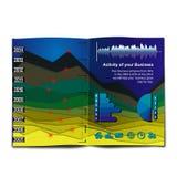 Il diagramma di InfoGraphic gradice un paesaggio della montagna Immagine Stock Libera da Diritti
