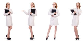 Il diario abbastanza femminile della tenuta di medico isolato su bianco Fotografie Stock Libere da Diritti