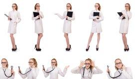 Il diario abbastanza femminile della tenuta di medico isolato su bianco Immagine Stock