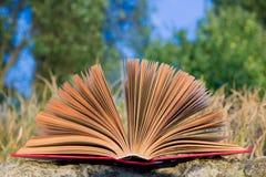 Il diario aperto del libro della libro con copertina rigida, pagine smazzate sulla natura vaga atterra Fotografie Stock Libere da Diritti