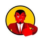 Il diavolo mostra bene Segno tutto bene Immagine Stock