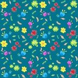 Il differente multicolore fiorisce su un fondo blu con le foglie verdi, modello senza cuciture Fotografia Stock Libera da Diritti