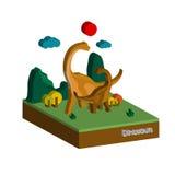 Il dinosauro 3D in foresta, illustrazione, progettazione di vettore Fotografia Stock