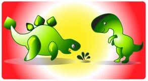 1 il dinosauro Dinoparty di logo di vettore Immagine Stock