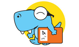 Il dinosauro porta il libro Fotografia Stock Libera da Diritti