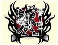 Il dio azteco del commercio ed il dio tribale dei viaggiatori mascherano l'illustrazione di vettore Immagini Stock