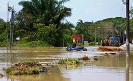 Il disastro naturale dell'inondazione ha luogo in Panchor, Malesia nel 2011 fotografia stock libera da diritti