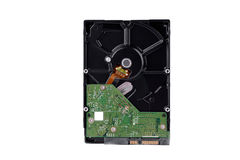 Il disco rigido del bordo è l'archiviazione di dati per il computer di dati digitali sulla tecnologia bianca del disco rigido del Fotografia Stock Libera da Diritti