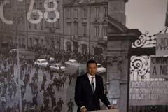 Il discorso del presidente del Consiglio dei Ministri della Repubblica di Polonia - Mateusz Morawiecki Fotografia Stock
