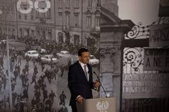 Il discorso del presidente del Consiglio dei Ministri della Repubblica di Polonia - Mateusz Morawiecki Fotografie Stock Libere da Diritti