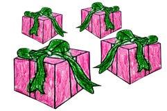 Il disegnato a mano del regalo della casella Immagini Stock Libere da Diritti