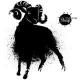 Il disegno in bianco e nero grafico delle pecore illustrazione vettoriale