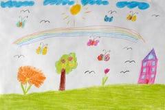 Il disegno dei bambini della casa, dei fiori e dell'arcobaleno illustrazione di stock