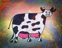Il disegno dei bambini di una mucca Immagine Stock Libera da Diritti