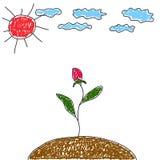 Il disegno del bambino. Fiore verso il sole. Immagine Stock Libera da Diritti