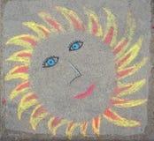 Il disegno del sole è sulla pavimentazione Fotografia Stock Libera da Diritti