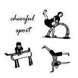 il disegno dell'insieme delle immagini dei ragazzi si è impegnato in atletica, schizzo, illustrazione Fotografie Stock