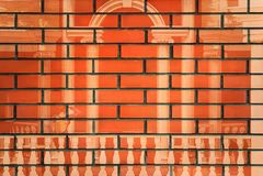 Il disegno della condizione della ragazza fra i due punti su un muro di mattoni fotografie stock libere da diritti