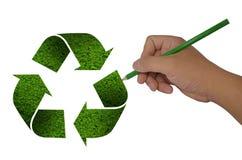 Il disegno della mano ricicla il segno Fotografie Stock
