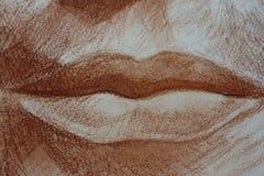 Il disegno delle labbra di un ritratto della donna dirige i pastelli Fotografia Stock Libera da Diritti