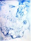 Il disegno dettagliato ornamentale di elven la testa dell'uomo Immagine Stock Libera da Diritti
