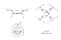 Il disegno di profilo di parla monotonamente un fondo bianco Il pannello di controllo di quadrocopter Vista anteriore e superiore illustrazione di stock