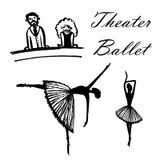 Il disegno di un insieme del fumetto rappresenta gli spettatori nel balletto di sorveglianza del teatro, illustrazione disegnata  Fotografia Stock
