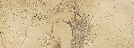 Il disegno di un nuoto della donna bolle, donna immersa, Immagini Stock